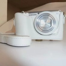 White Pu Leather Camera Bag Case Cover + Strap For Samsung Galaxy EK-GC100 GC100 Free Shipping(China)