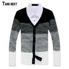 TANGNEST Men Cardigan Patchwork 2017 New Spring Men's Striped Casual V-Neck Cardigan Male Korean Style Slim Fit Sweater MZL519