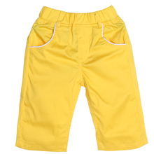 Boys Capris 2017 New Baby Kids Fashion Yellow Knee Length Pants Spring Summer Letter Print Casual Pants For 3-8Y Boys Trousers(China)