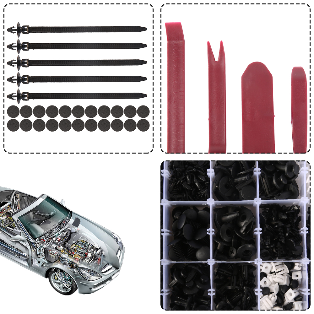 350x Car Trim Rivet Weatherstrip Mud Flaps Bumper Fender Fastener Assortment Kit