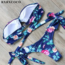 Buy RXRXCOCO Brand Sexy Bikini Set Flower Printed Swimwear Women 2017 Bandeau Padded Swimsuit Female Halter Bandage Swimming Suit