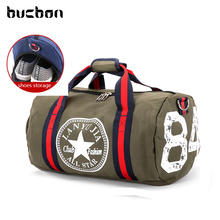 Bucbon Classic Canvas Cylinder Shoes Storage Sports Bag For Gym Fitness Travel Women Men Medium Capacity Soft Gym Bag HAB082(China)