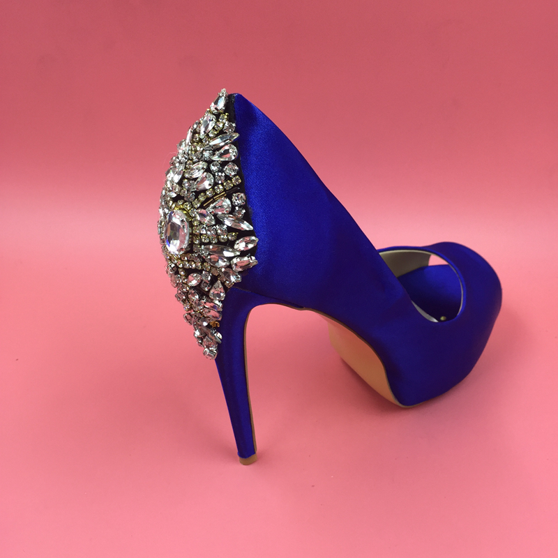 Royal Blue Satin Wedding Pump Shoes Rhinestones Peep Toe Sandals Sexy ad17914e9f96