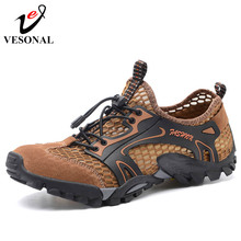 VESONAL 2018 Summer 봄 Men Shoes 캐주얼 Mesh Genuine Leather Patchwork 숨 야외 남성 Sneakers Walking 신발쏙 ~(China)