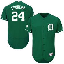 MLB Men's Detroit Tigers Miguel Cabrera Baseball Fashion Green Celtic Flex Base Authentic Collection Player Jersey(China)