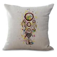 Buy Free Custom New Throw Pillow Color Dreamcatcher Printing Cotton Linen Decorative Cushion Home Chair for $4.58 in AliExpress store