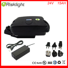 Hot 24v 15ah lithium ion battery packs frog type 24volt electric bicycle battery with BMS and charger