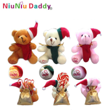 10CM Plush Christmas bear keychain with Candy Bag 3 colors Plush toys Pendant wholesale 60pcs/lot