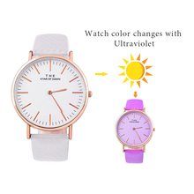 Creative Ultraviolet Discoloration Women Wrist Watches Leather Quartz Watch In Direct Sunlight Change Color Female Sports Clock(China)