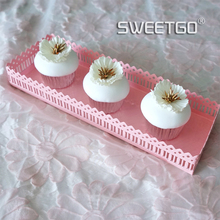 Creative Square Pink Lace Pattern Cupcake Cake Dessert Tray Plate Wedding Decorative Display