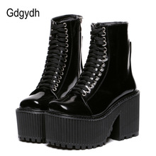 Gdgydh 패션 Ankle Boots 대 한 Women Platform Shoes 펑크 Gothic Style Rubber 솔 Lace Up Black 봄 가 Chunky Boots woman(China)
