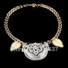 xl00395 NEW Designer Bijoux Crystal Cutout Pendant Leaves Italy Necklace For Charms