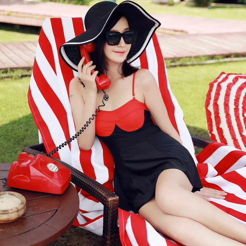 NIUMO NEW one-piece swimsuit woman Skirt type Small chest Gather swimsuit spa Swimming suit Beach swim Swimwear<br>