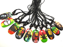 10pcs Bob Marley Pendant Necklaces 10 different styles Mix Wholesale Mens Peace leaf one love... Jewerly Lots(China)