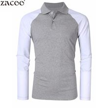 Zacoo 2017 Spring Brand Clothing Cotton Long Sleeve polo top Men's Two Tone Color Blocked Modern Fit Long Sleeve Polo Shirt(China)