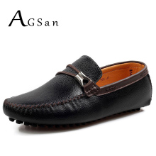 Buy AGSan men italian shoes genuine leather loafers 2017 autumn luxury brand driving shoes slip boat shoes moccasins white black for $24.85 in AliExpress store