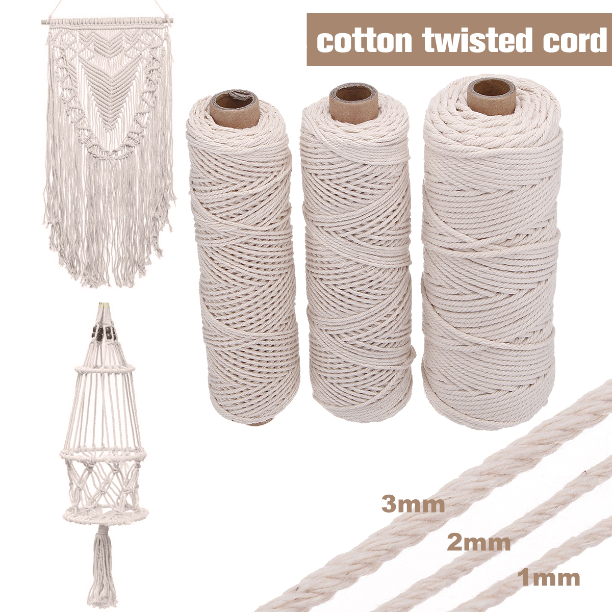 3 Size 1/2/3mm Braided Soft Beige Twisted Cotton Rope Cord Craft Macrame String DIY Handmade Tying Thread Macrame Cord Rope