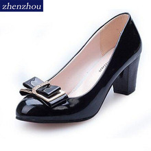 free shipping 2016 Women's shoes Work shoes spring and autumn bow low low-heeled shoes thick heel casual female leather(China)