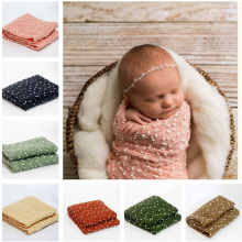 Newborn Photography Props 50*160cm Pebble Textured Stretch Knit Backdrop Wrap with Headband Baby Photo Props Wraps H277