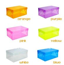 Transparent Women lady Stackable Crystal Clear Plastic Shoe Storage Boxes case organizer 7 colors in stock CN post(China)