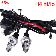 2pcs car Headligh hid bulb H4 Bi xenon 55w HID H4 HI/LO Xenon bulb 55w h4-3 12V AC h4 Swinging light bulb 6000K Hi Lo Beam Lamp
