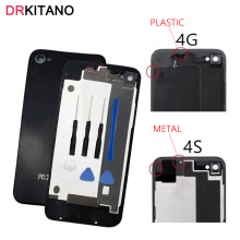 "3.5""NEW For iPhone 4/4S Back Housing Battery Door Cover Rear Panel Plate Glass Case Body Replacement For Apple iPhone 4S Housing(China)"