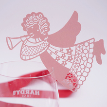 DIY 50pcs  flying angel laser Place Name Card Wine Glass Card Laser Cut Paper Cup Card Table Mark Wedding Party Decoration