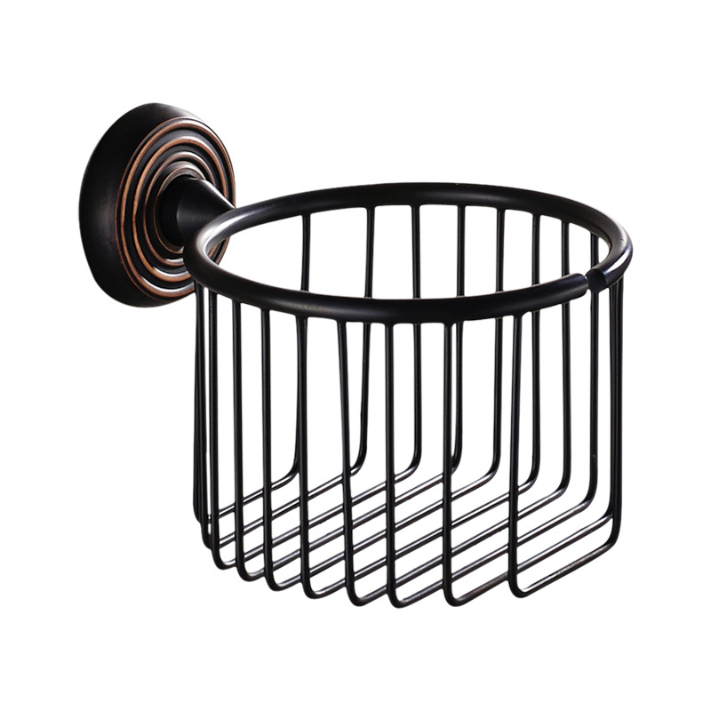 Antique Black Brass Paper Box tissue Roll Holder Round Base Brushed Toilet paper holder Bathroom Accessories Products hk3<br>