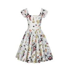 Japan Stylish Clothing Printed Quality Cotton Dresses Special Square Collar and Pleated Swing Design Graceful Palace Wearing