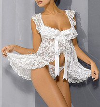 White Lace Baby Doll Sexy Lingerie Plus Size 4XL 6XL Bridal Nightgown Sets