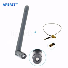Aperit 1 2dBi Dual Band WiFi RP-SMA Antenna + 1 12in U.fl Cable for Linksys Router WRT54GS2