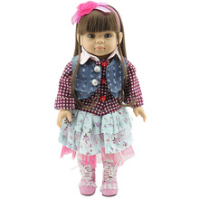 "45cm American Girl Doll Lifelike 18"" Vinyl Baby Doll Handmade Princess Doll Realistic Silicone Simulation Baby Toys for Children(China)"
