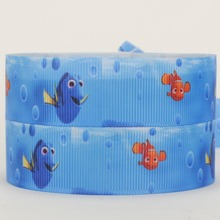 50yards/lot Blue sea lovely Fish Printed Grosgrain Ribbons for girl DIY hairbow
