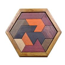 12pcs Hexagon Tangram Jigsaw Puzzles Wooden Puzzle Games Brain Puzzles For Kids Wedding Party Decoration Gift Supplies(China)