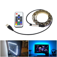 USB LED Strip Light Kit DC5V 5050 RGB Ribbon Tape Lamp 5M 4M 3M 2M 1M 30LEDs/m + 17Key RF Controller for TV Background Lighting