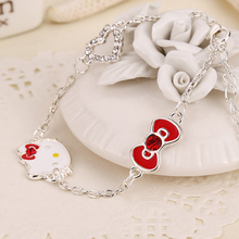 Cute Cat Hello Kitty Charms Original Heart Bracelet Bangle Bowknot Bracelet for Women Children Girl DIY Fashion Jewelry