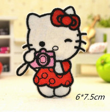 Camera Hello Kitty  Badge Embroidered Iron-on Patches Garment Appliques DIY Accessory 5pcs/lot