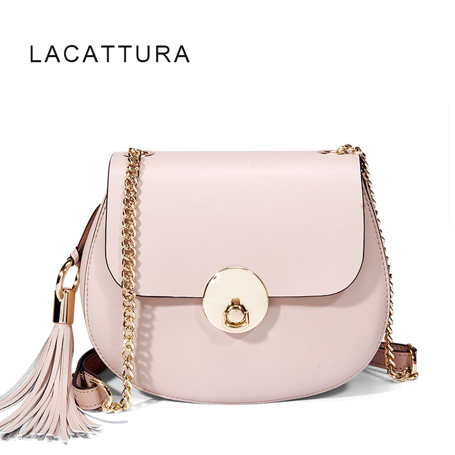 LACATTURA Brand Design Women Genuine Cowskin Leather Handtassen Pig Shoulder Messenger Bags Womens Cloe Chain Tassel Bag<br>