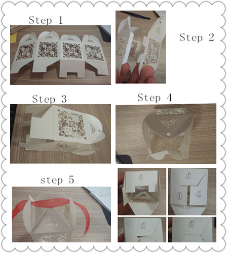 steps of finish candy box with ribbon