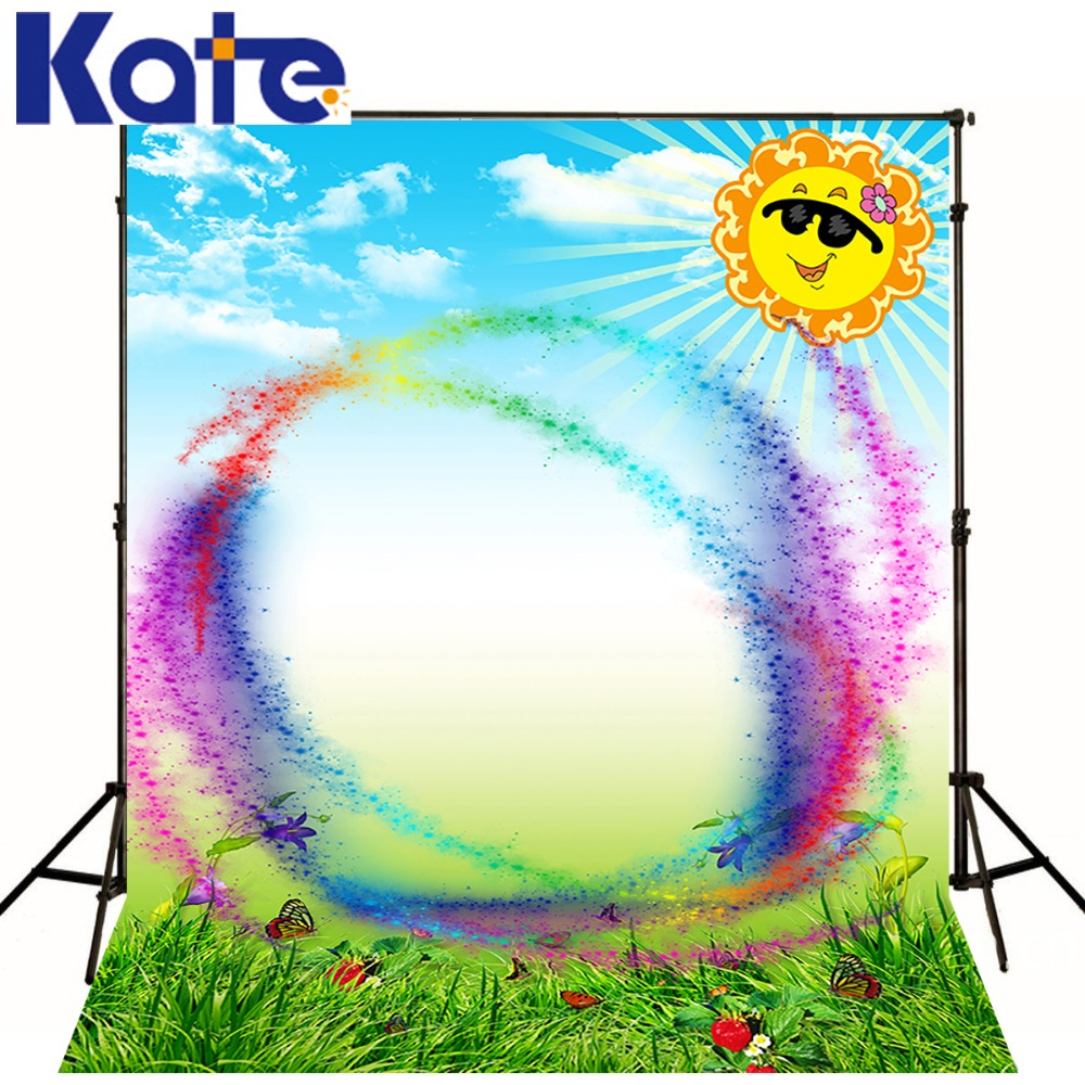 Kate Customize Backdrops Spring Natural Scenery Backgrounds Rainbow  Sun Butterfly Photography Photo Studio Microfiber Backdrop<br>