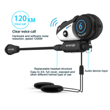 Vimoto V6 BT Interphone Motorcycle Helmet Headset Intercom simultaneously pair 2 different Bluetooth High-fidelity transmission