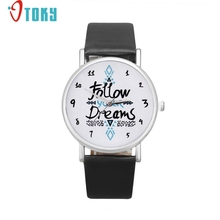 OTOKY Hot Unique Women Watch Follow Dreams Words Pattern Leather Watch Drop ship F15
