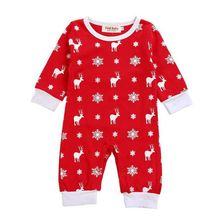 Newborn Baby Girl Carters Clothes Christmas Style Cotton Printed Full Sleeve Bodysuit One-piece Jumpsuit Clothes Clothing Set(China)