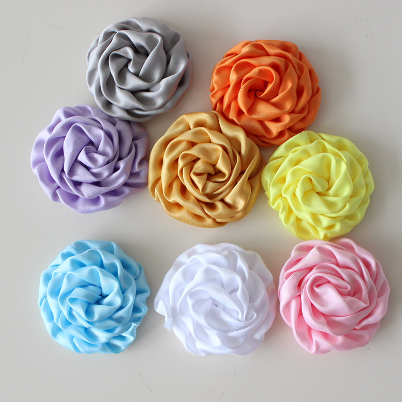 3 (7.2-8cm)Matte Satin Rolled Rosettes Hair Flowers, Puff Flowers Flat Back Baby Girls Boutique Hair Accessories<br><br>Aliexpress