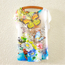 Plus Size 25 Styles Floral Print Basic Plain T Shirt Female Casual Tops Short Sleeve Women T-shirt 802