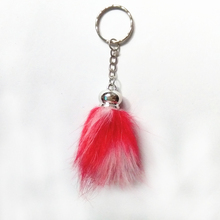 12 pcs/lot Fake Raccoon Fur Mini Pompon Key Chains Colorful point Tassel Pendant Personality Hang Keychains Phone Key Chain(China)