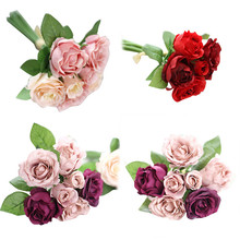 1 Bouquet 7 Heads Artificial Silk Fake Flowers Leaf Rose Wedding Floral Decor flower bush for Romantic decoration(China)