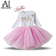 Ai Meng Baby Girl Clothes Bodysuit/Rompers Skirt Headband Infant Clothing Sets Brand New Born Baby 1st Birthday Outfits Baby Set