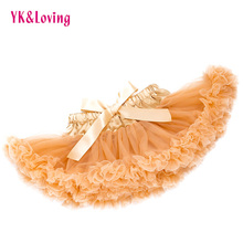 GOLD Baby Girls Skirt Chiffon Tutu Sparkle Skirt Princess Party Newborn Pettiskirts Silk Ballet clothes YK&Loving TS138(China)