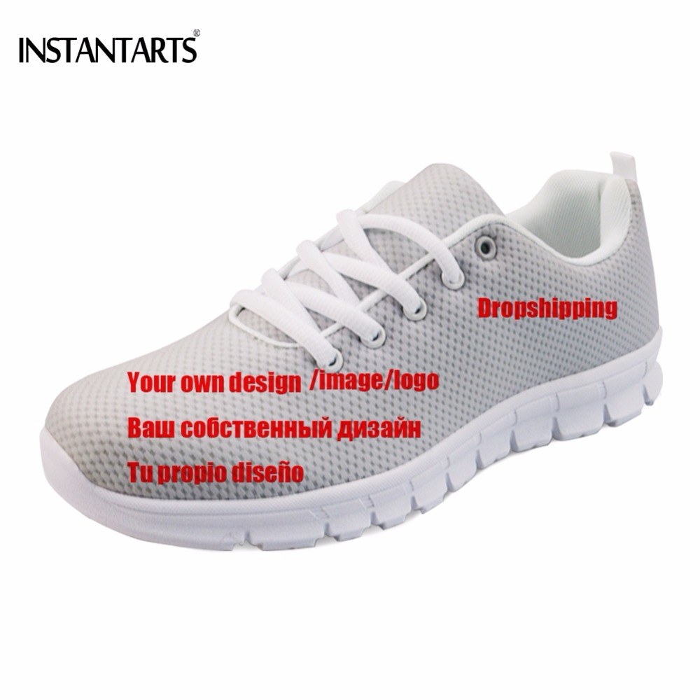 INSTANTARTS Customized Image/Logo/Design Men Mesh Flats Shoes Diy Sneakers Print Logo/Design Footwear